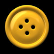 Yellow button for clothing isolated on black background