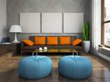 Part of the modern living-room with blue ottomans poster