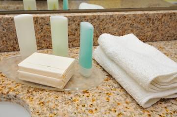 Closeup of spa items