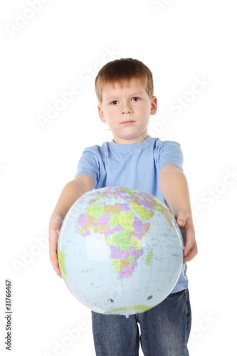 five years' boy has control over a ball-globe