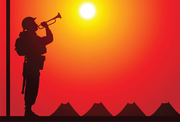 British soldier with bugle