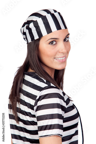 Attractive woman dressed in prisoner