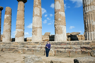 Woman near the Temple of  Heracles, Valley of Temples, Sicily