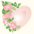 Love card with pearls and rose, vector illustration