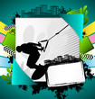 Abstract summer frame with wakeboarder silhouette