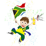 South Africa Sport Fan with Flag and Horn