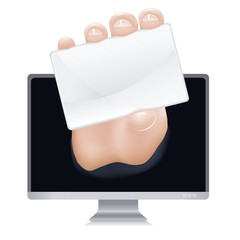 Hand coming out of monitor holding blank business card