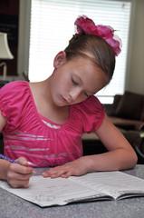 Eight Year Girl Doing Homework