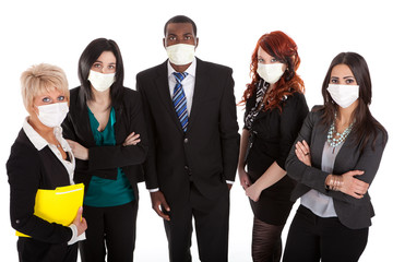 Business team with flu masks