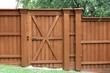 Door in a cedar fence - 31782033