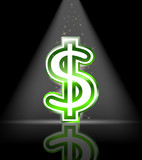green glossy dollar sign with spot light and little star