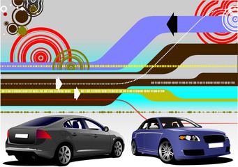 Abstract hi-tech background with two car sedan images. Vector il