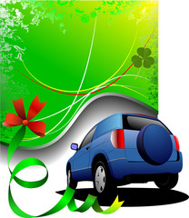 Green background and blue car sedan. Vector illustration