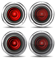 set of red quality speaker isolated on white