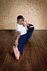 Yoga akarna dhanurasana archer pose