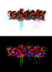 """Graffiti"" word with blots"