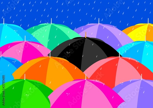 Black Umbrella among Colourful Umbrellas
