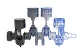 Crank shaft 4 cylinder - transparent blue and black poster