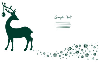 Standing Reindeer & Snowflakes Background Green