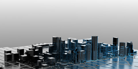 City - transparent blue and black isolated on gray