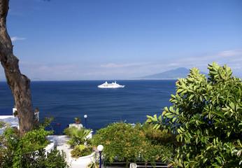 Terrace over the sea in Sorrento, Campania, Italy