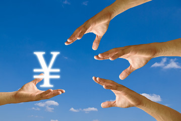 Competitor hand to strive for Yen icon from small hand