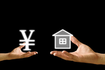 Small hand exchange Yen icon with house icon