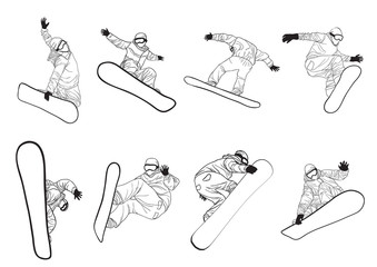 collection of snowboarders