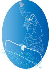 white silhouette of snowboarder
