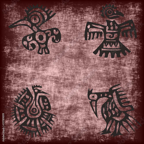 mexican traditional bird motif on grunge
