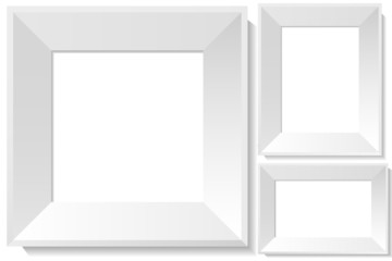 Realistic white photo frames