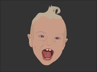 cute laughing baby head vector illustration