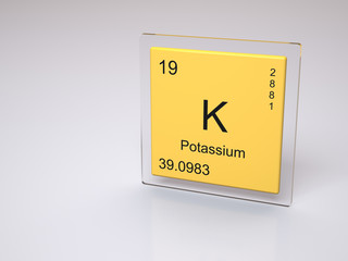 Potassium - symbol K - chemical element of the periodic table