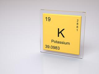 Potassium - symbol K - chemical element of the periodic table