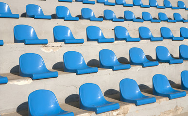 Seats on a country stadium