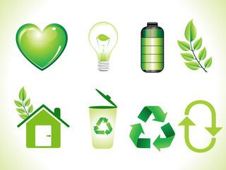 abstract shiny green eco icons set