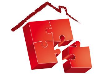 Casa-puzzle rossa con tetto disegnato a matita