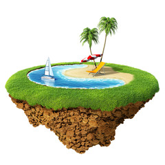 Personal resort concept. Tiny island / planet collection.
