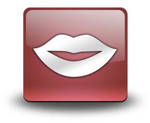 "Red 3D Effect Icon ""Mouth / Lips Symbol"""