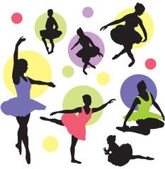 set vector ballet silhouettes
