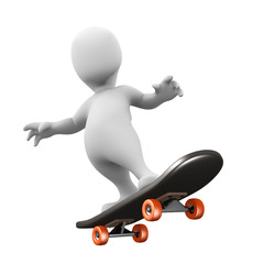 3d Little man impresses on his skateboard