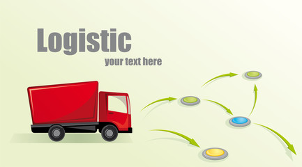 Illustration with truck. Logistic concept.