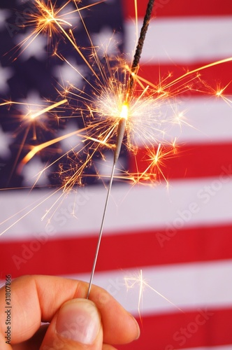 sparkler and usa flag