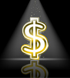 golden dollar sign with spot light and little star