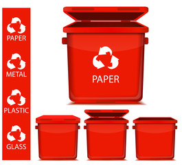 set of vector red recycle garbage