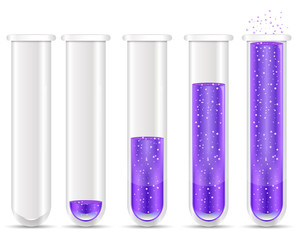 purple liquid with bubble in test tubes
