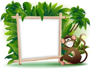 Scimmia Cartoon Con Pannello Sfondo-Monkey Panel Background