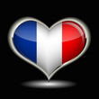 a heart with the flag of France isolated on a black background