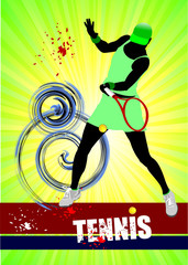 Woman Tennis player poster. Colored Vector illustration for desi