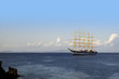 Tall ship off the Isle of Capri in Campania,Italy